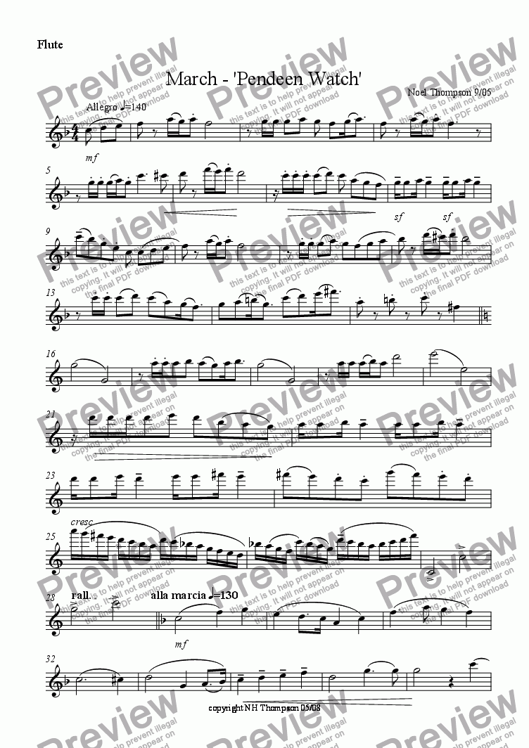 page one of the flute part from Pendeen Watch - March for Flute & Piano - edited