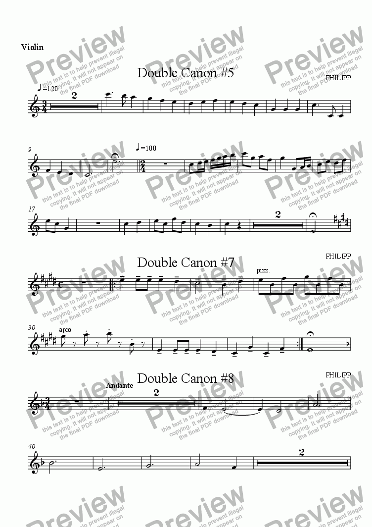 page one of the Violin 2 part from Double Canon Suite for String Quartet