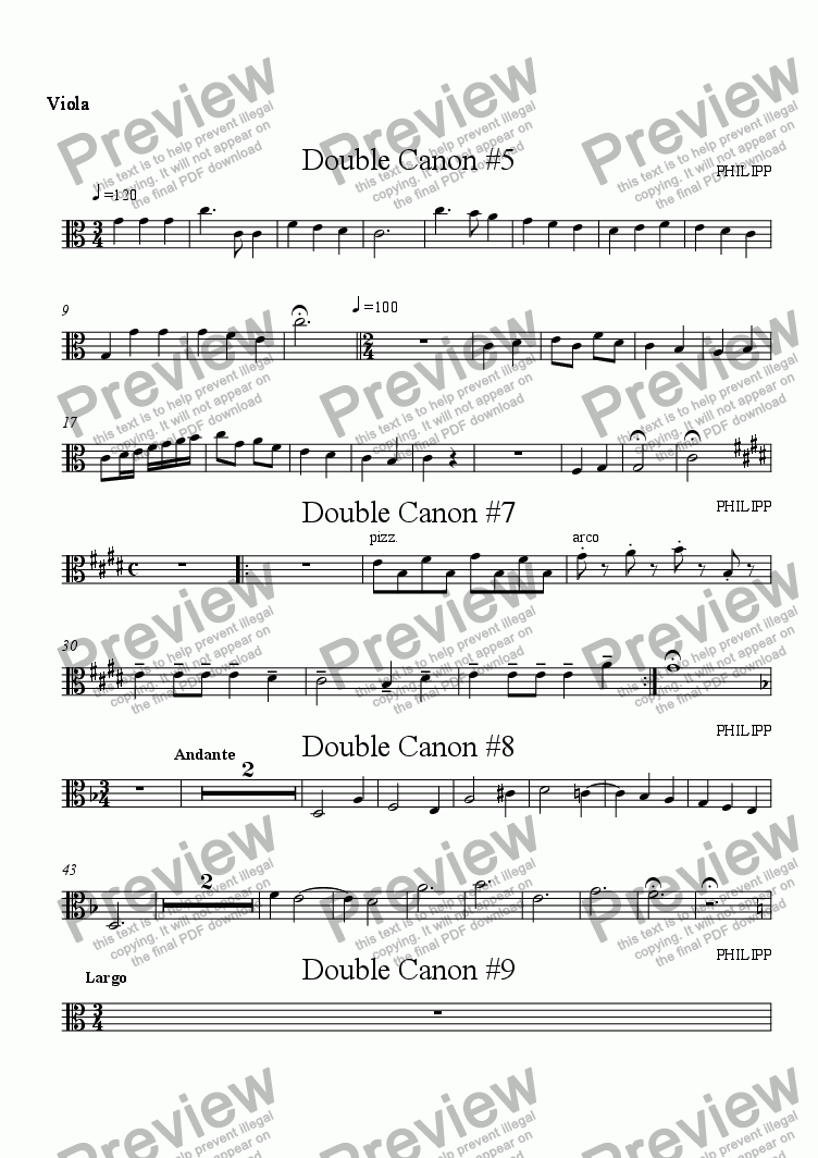 page one of the Viola part from Double Canon Suite for String Quartet