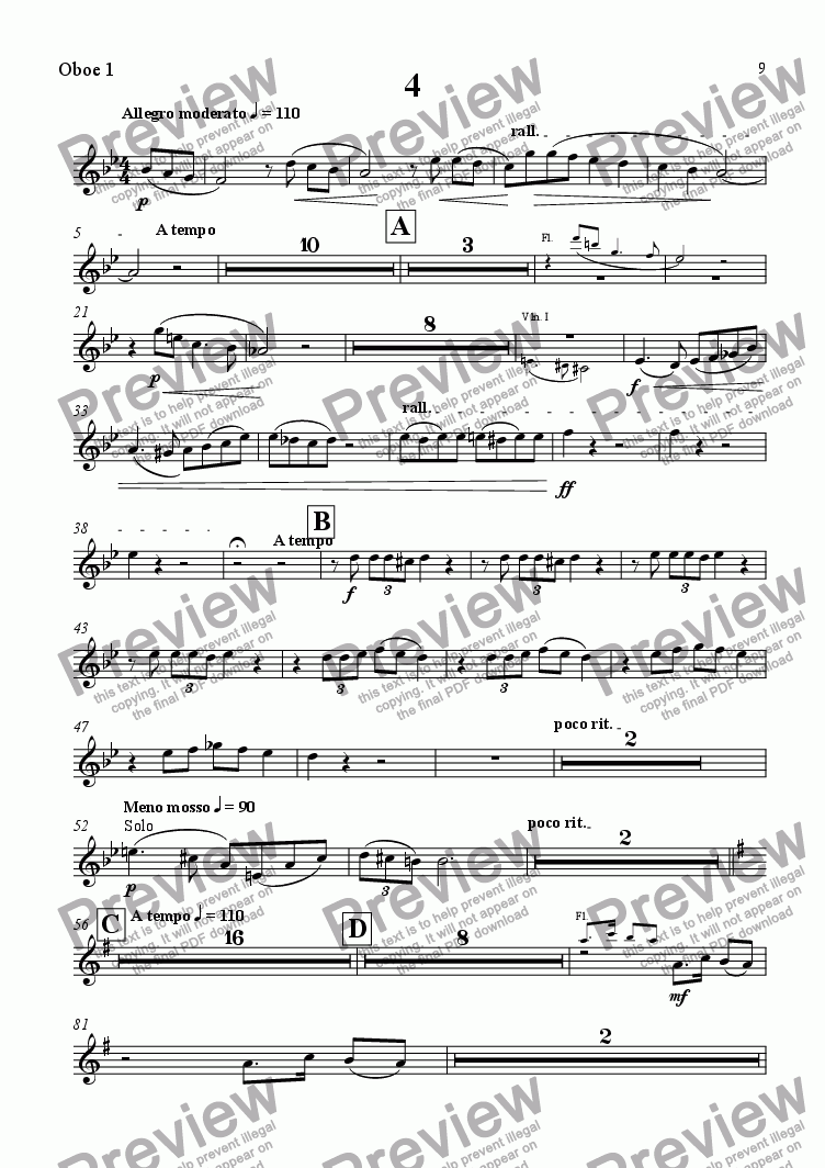 page one of the Oboe 1 part from A Wealden Symphony - Fourth Movement