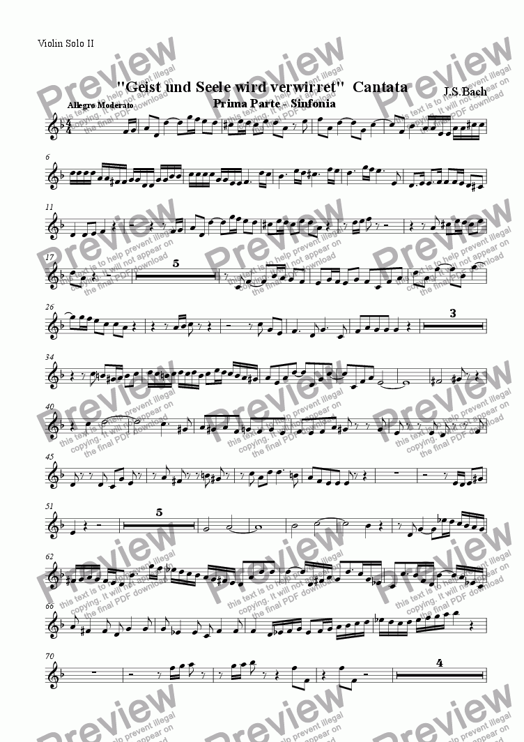 page one of the Solo Violin 2 part from Sinfonia from Cantata