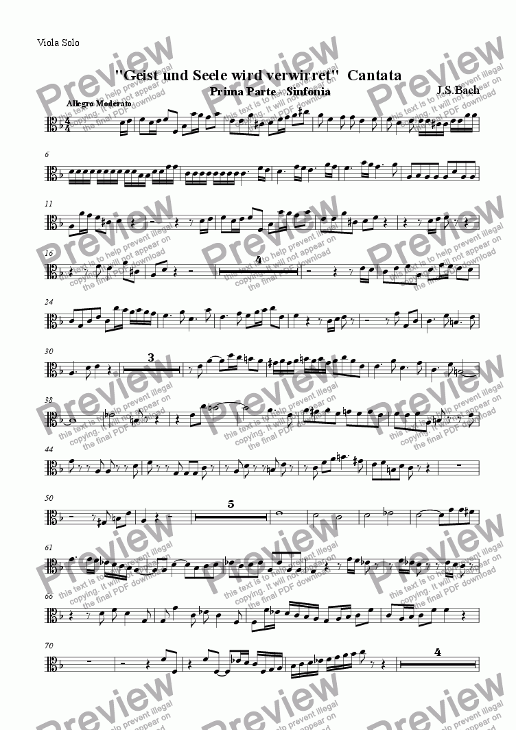 page one of the Viola Solo part from Sinfonia from Cantata