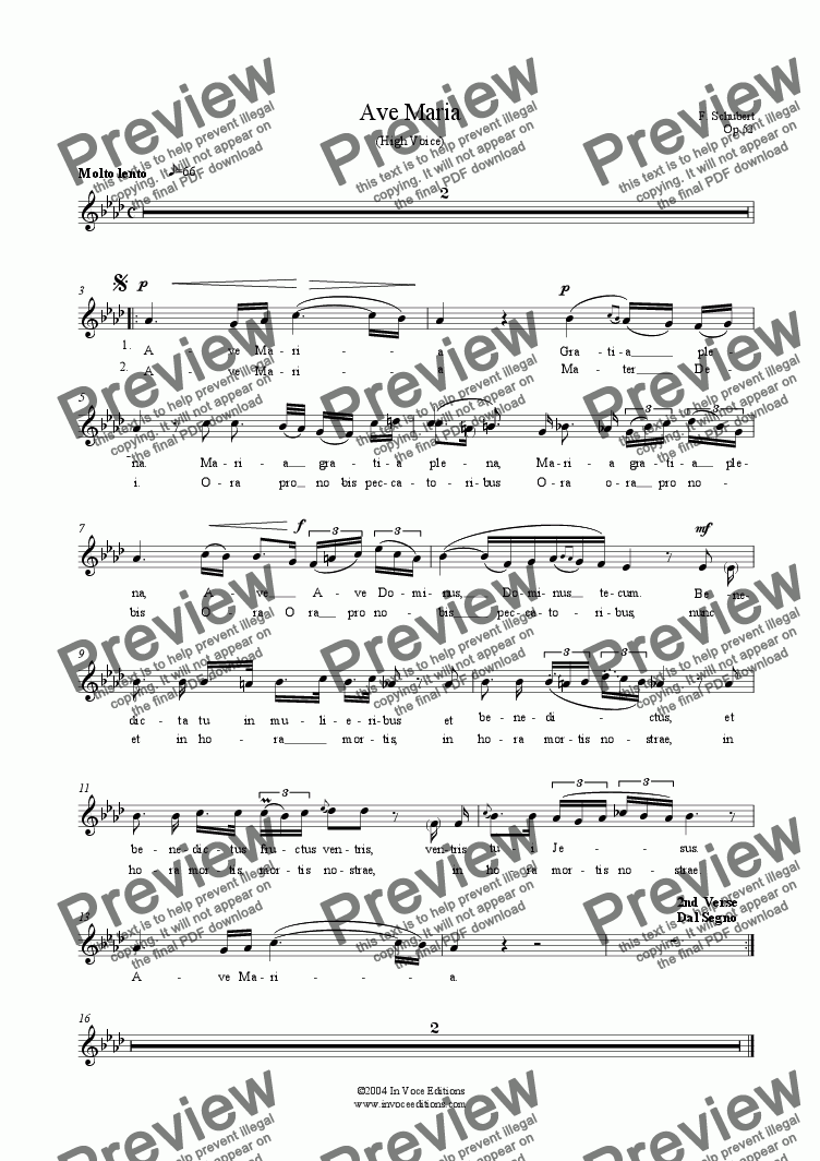 page one of the Medium Voice (Mezzo or Baritone) part from Ave Maria (F Schubert)- Download Sheet Music for String Trio & High or Mezzo Voice