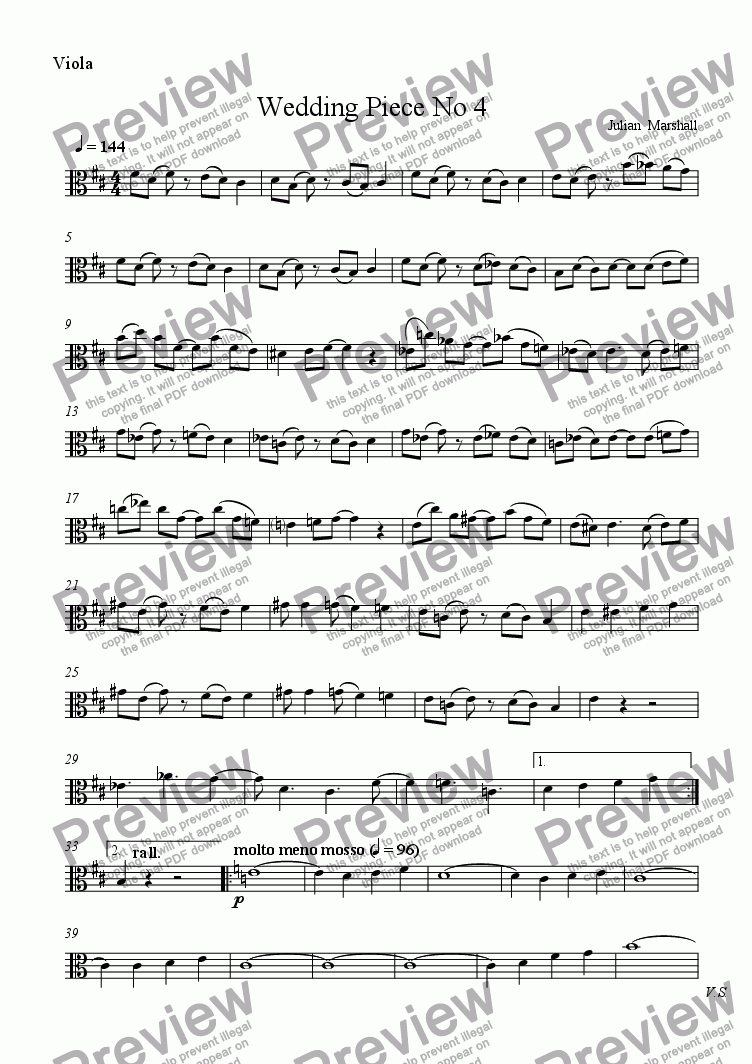 page one of the Viola part from Wedding Piece No 4