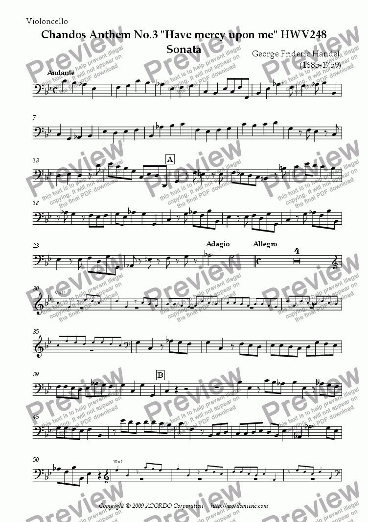 "page one of the Violoncello part from Chandos Anthem No.3 ""Have mercy upon me"" HWV248 Sonata"