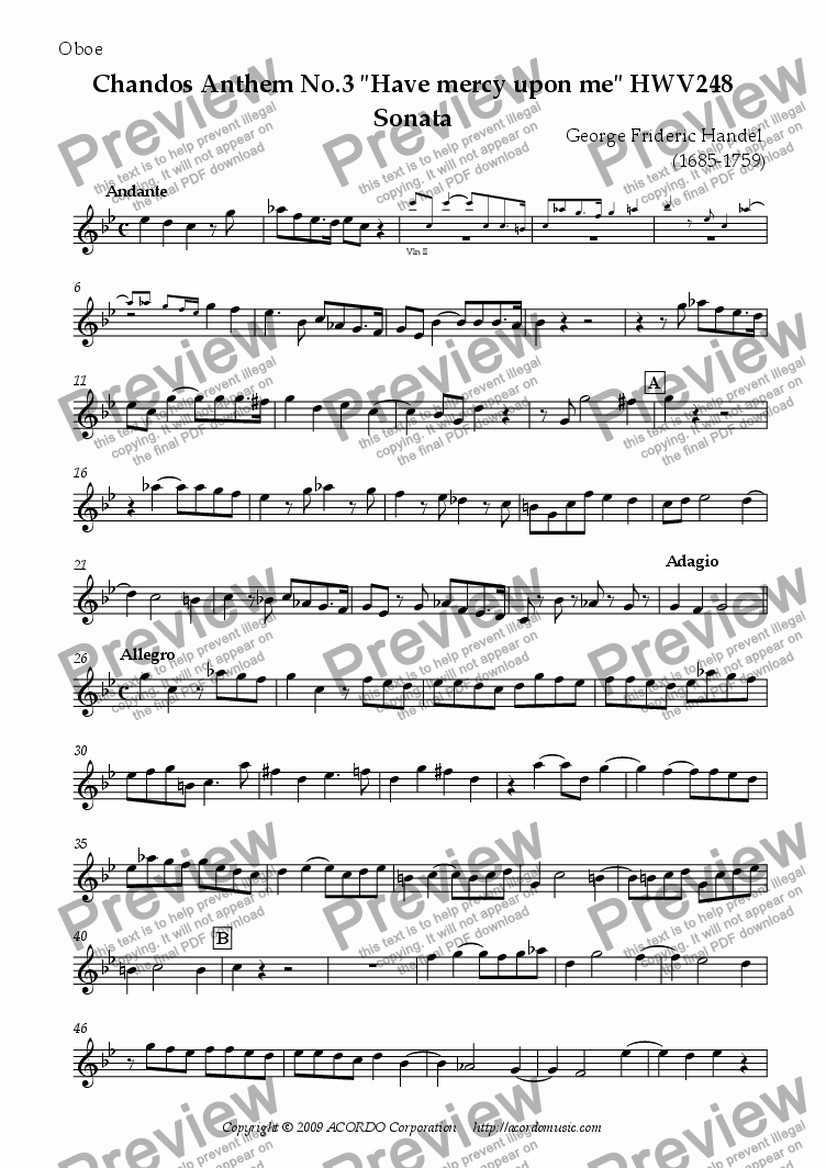 "page one of the Oboe part from Chandos Anthem No.3 ""Have mercy upon me"" HWV248 Sonata"