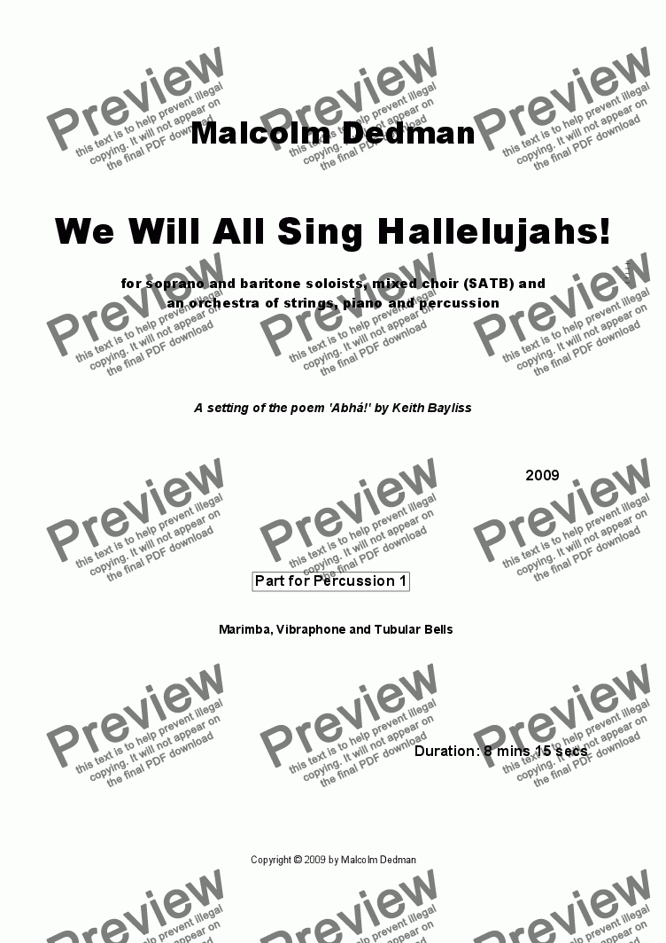 page one of the Percussion 1 part from We Will All Sing Hallelujahs!
