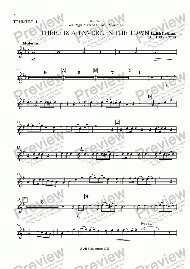 page one of the Trpt. 1 part from There Is A Tavern In The Town  for School Orchestra