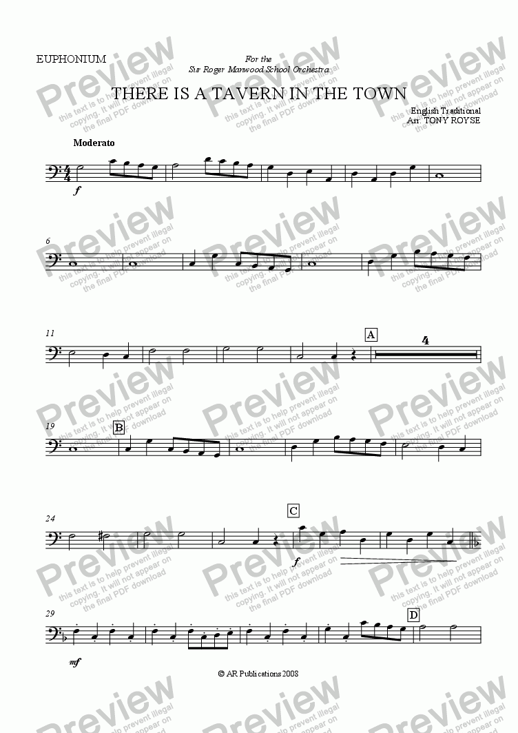page one of the Euphonium part from There Is A Tavern In The Town  for School Orchestra