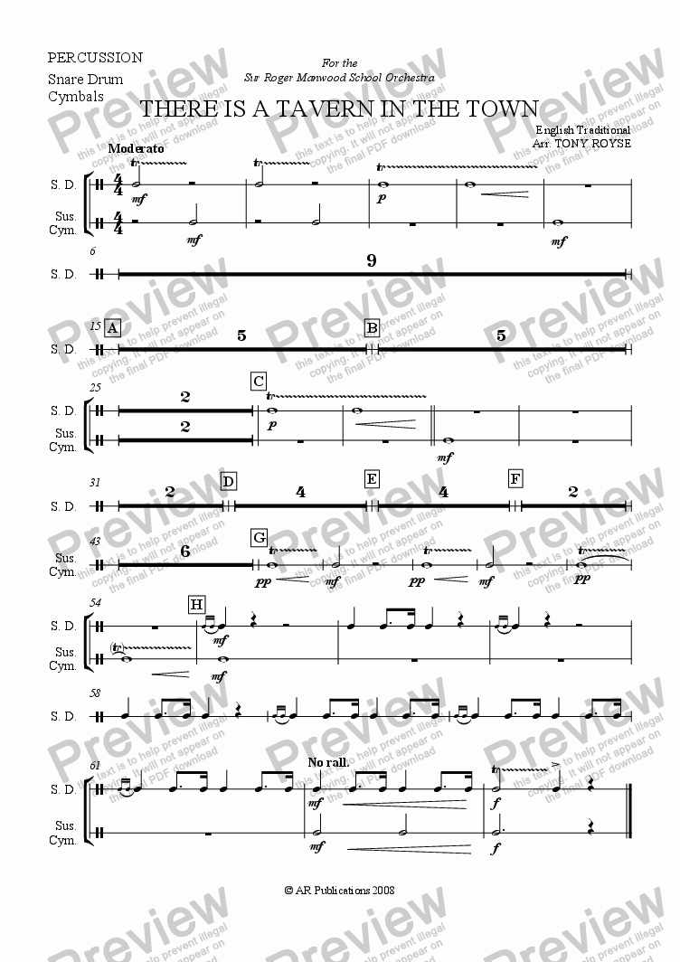 page one of the Percussion part from There Is A Tavern In The Town  for School Orchestra