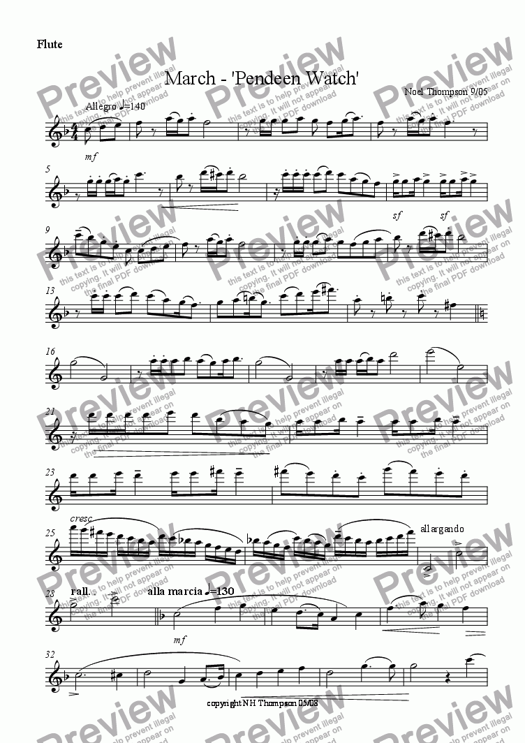 page one of the flute part from Pendeen Watch March - piano,cello & flute