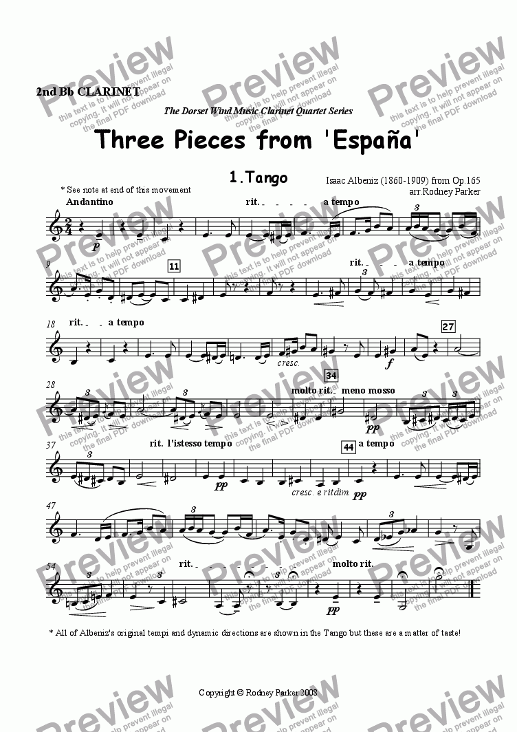 page one of the 2nd Clarinet part from Three Pieces from 'Espana' arr. for Clarinet Quartet