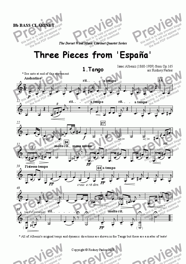 page one of the Bass Clarinet part from Three Pieces from 'Espana' arr. for Clarinet Quartet