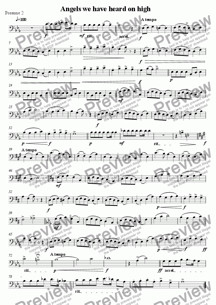 page one of the 2nd Trombone part from Angels we have heard on high