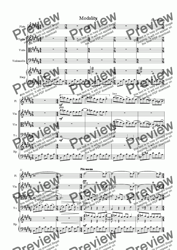 page one of the viola part from Modality Quintet