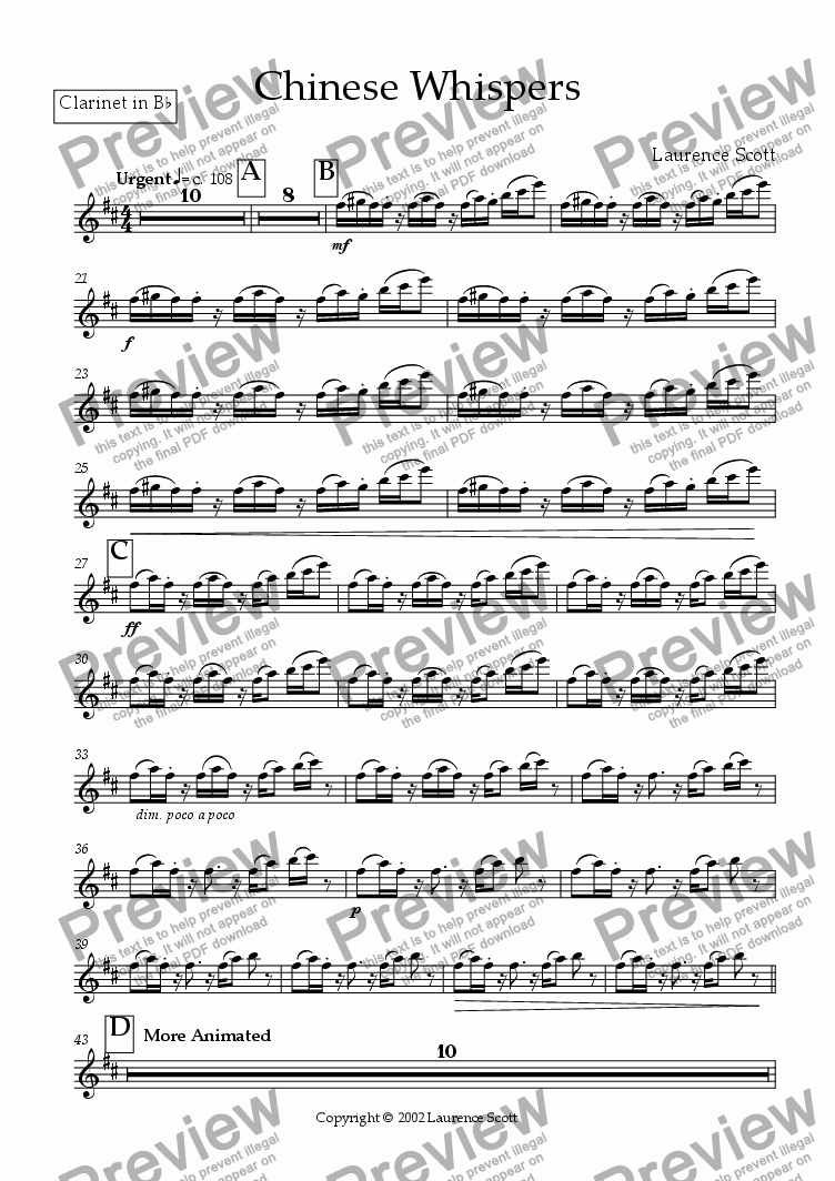 page one of the Clarinet part from Chinese Whispers