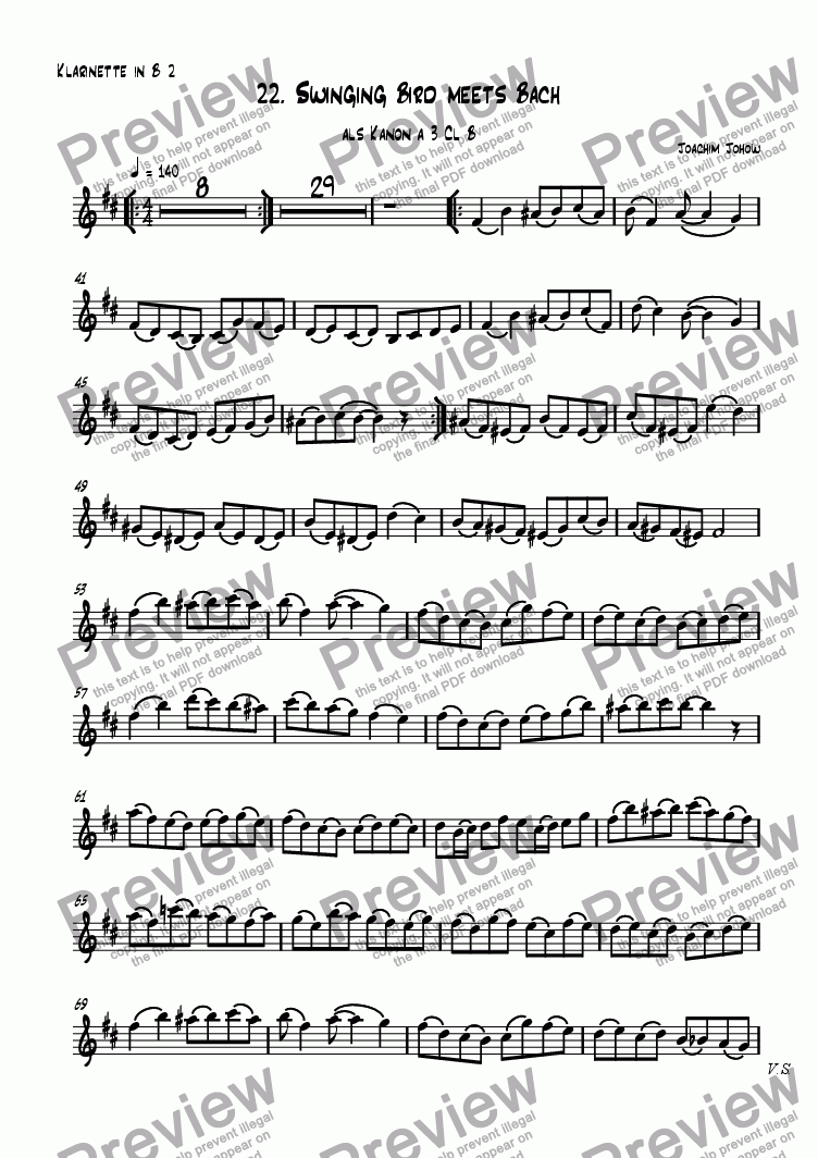 page one of the 2. Cl part from Grand Canon 22  Swinging Bird meets Bach - 3 Cl B