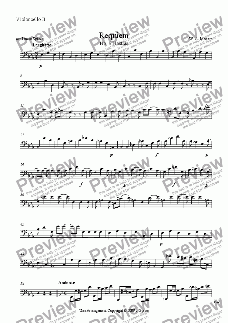 page one of the Violoncello II part from Requiem: Hostias