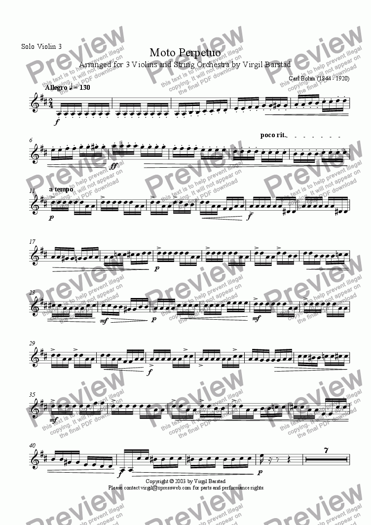 page one of the Solo Violin 3 part from Moto Perpetuo