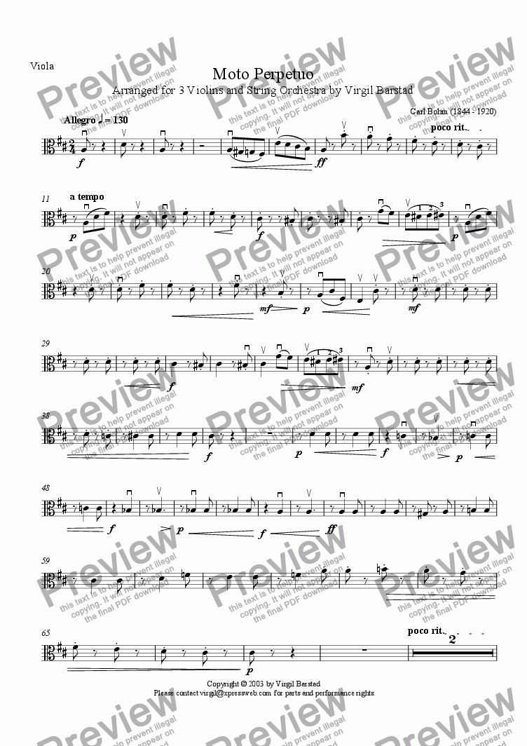 page one of the Viola part from Moto Perpetuo
