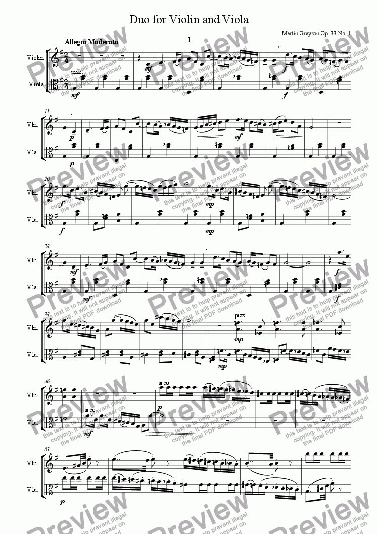 page one of the Violin part from Duo for Violin and Viola Op. 33
