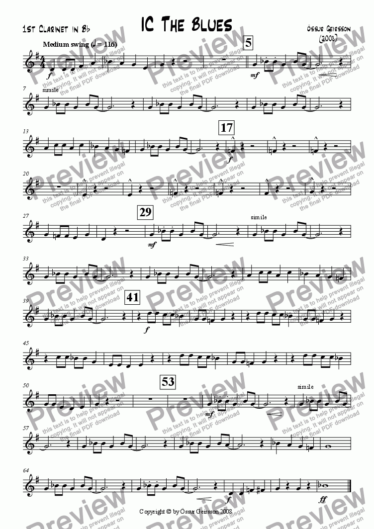 page one of the 1st Clarinet in Bb part from IC The Blues