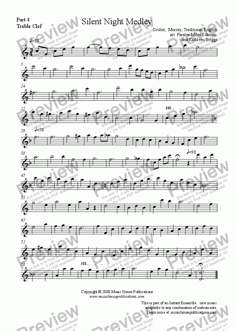 page one of the Silent Night Medley - Part 4 Treble Clef part from Instant Ensemble:  Silent Night Medley