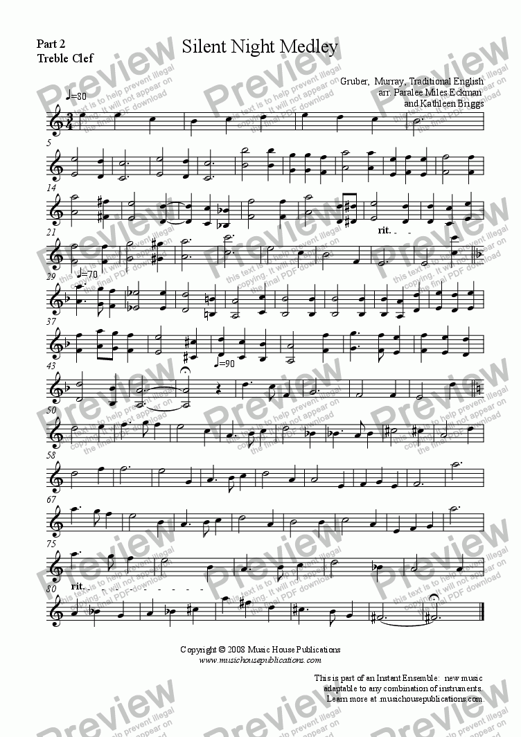 page one of the Silent Night Medley - Part 2 Treble Clef part from Instant Ensemble:  Silent Night Medley