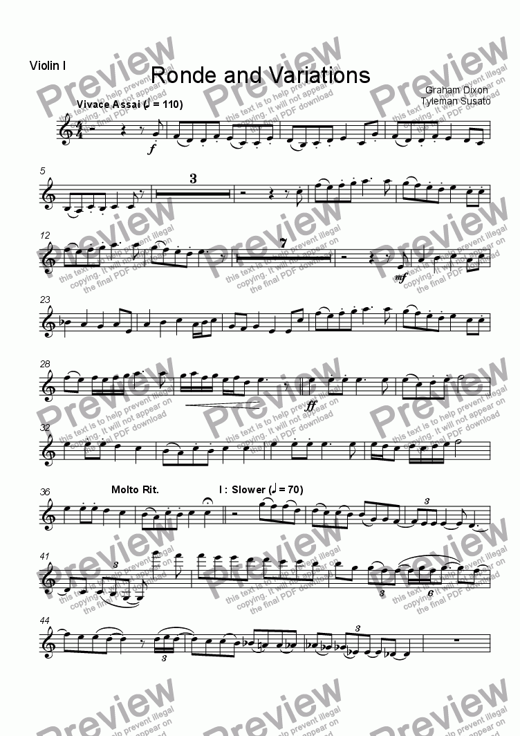 page one of the Violin 1 part from Ronde and Variations for String Quartet