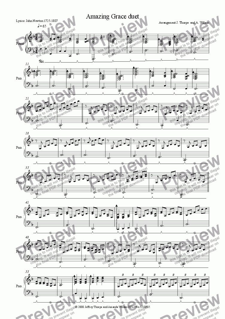 page one of the Piano part from Amazing Grace duet