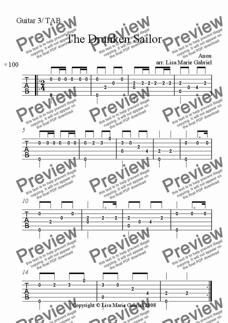 Guitar 3 2 Part Solo Tab Part From The Drunken Sailor For