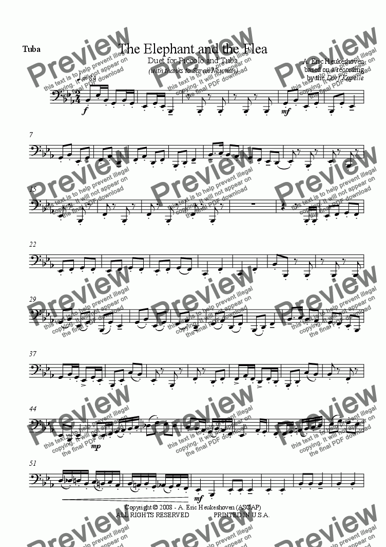 page one of the Tuba (Bb) part from The Elephant and the Flea (Piano Reduction)