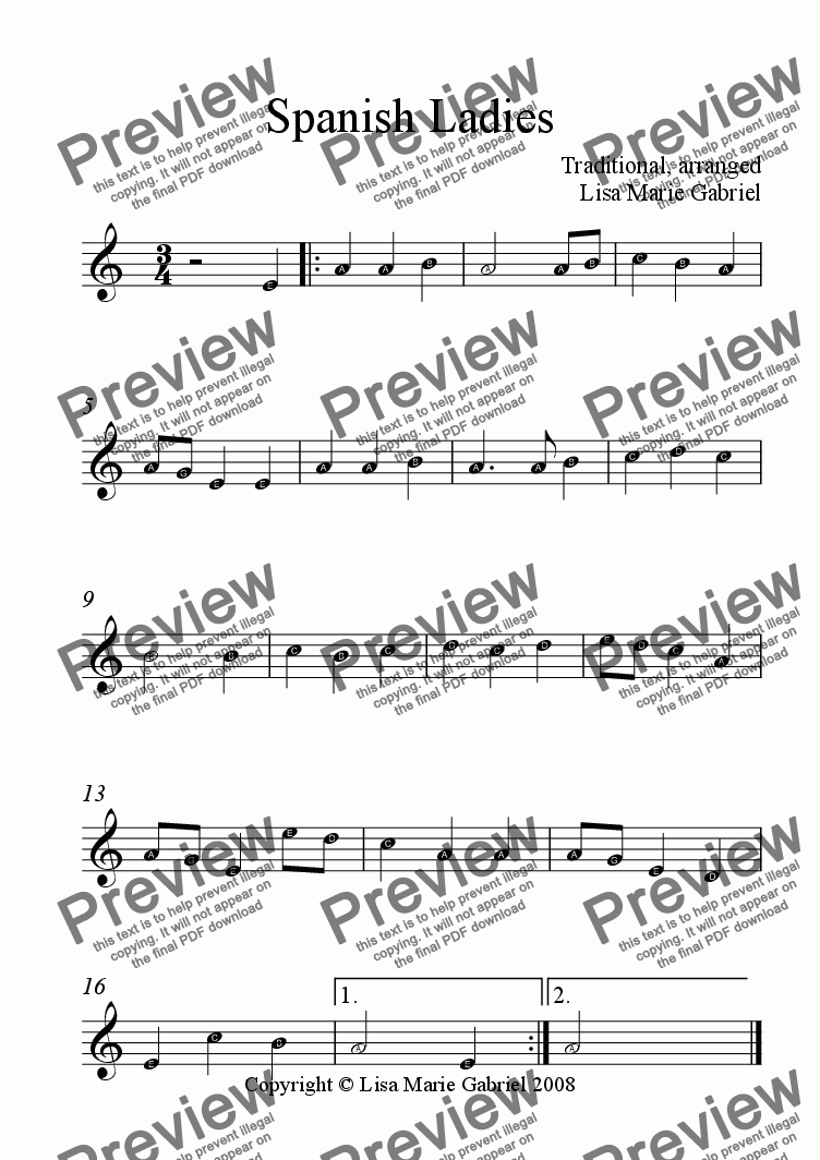 page one of the Guitar 1 - easy melody part from Spanish Ladies - Guitar Quartet