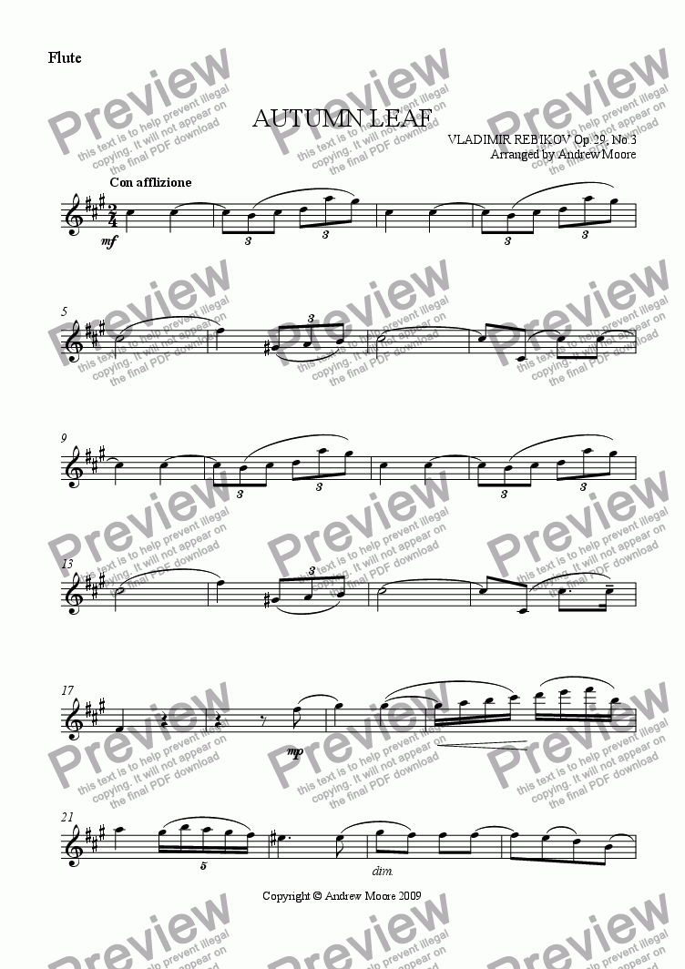 page one of the Flute part from 'Autumn Leaf' for flute & piano