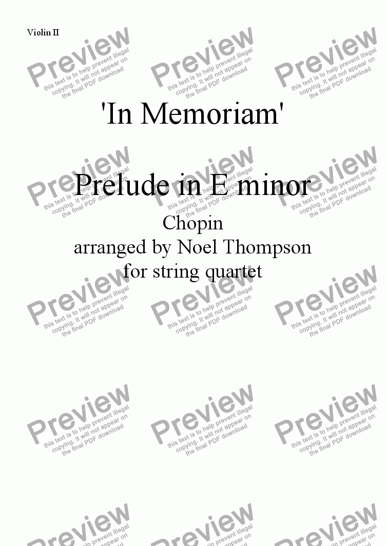 page one of the violin 2 part from In Memoriam Prelude in E minor by Chopin arr. for string quartet