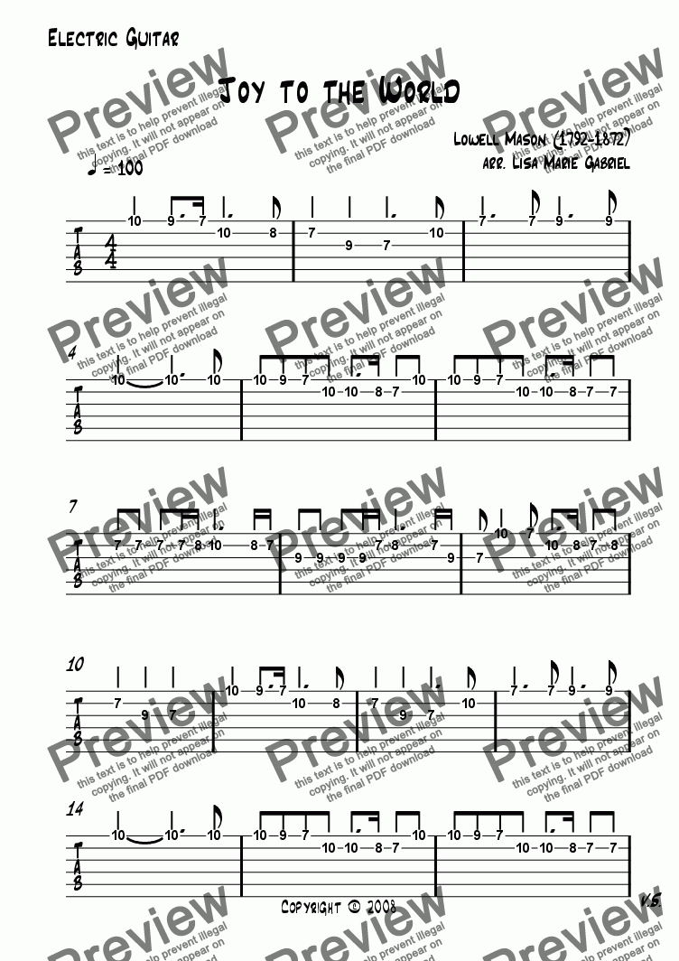 Electric Guitar Tab Part From Joy To The World Quartet Pdf Diagram Parts Of Which Method Viewing Music Should I Use