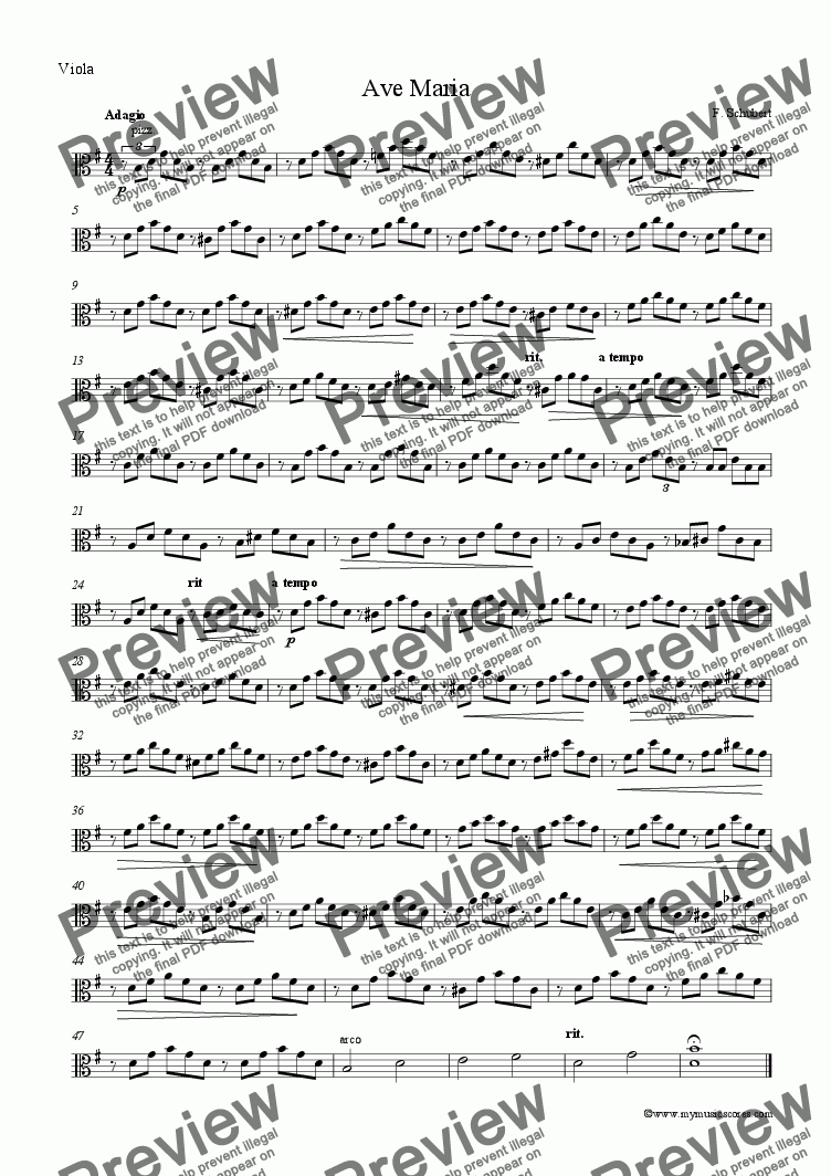 page one of the Viola part from Schubert Ave Maria for String Quartet