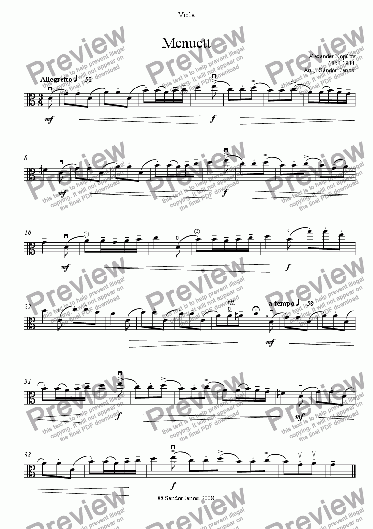 page one of the Viola part from Menuett