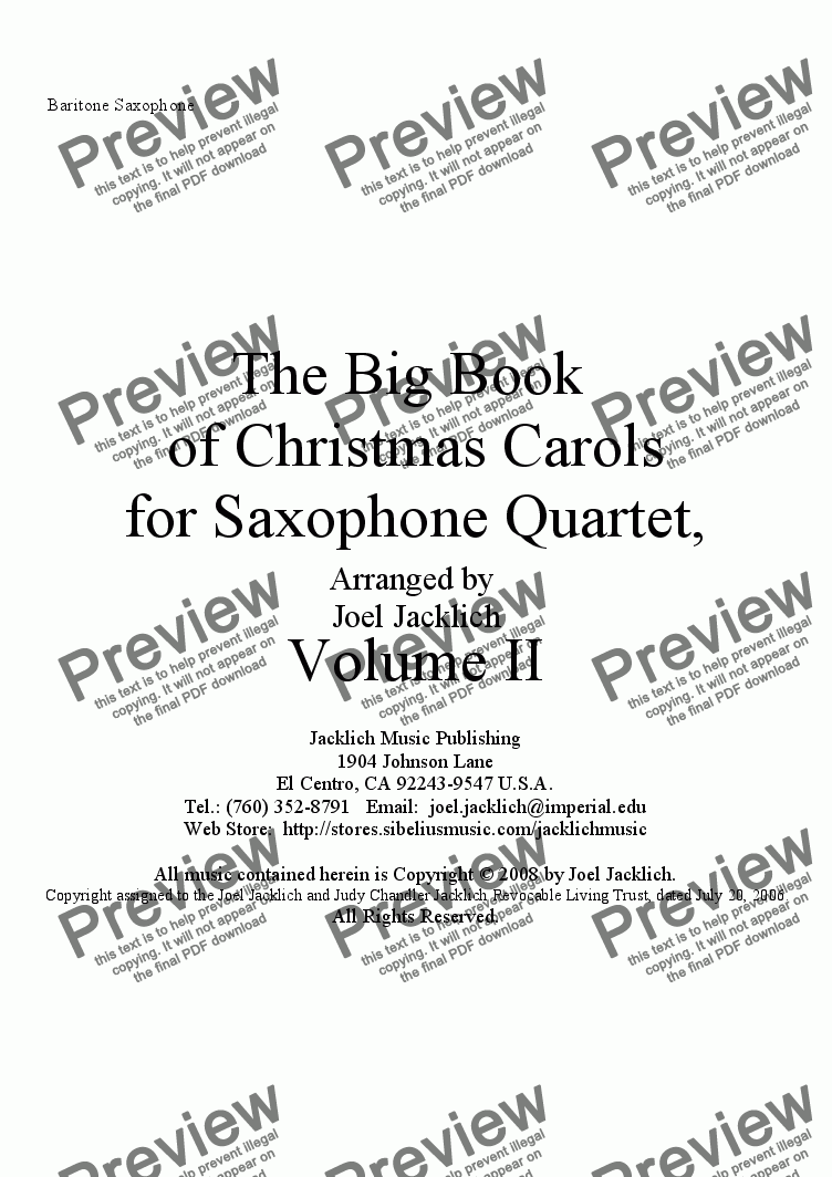 page one of the Bari Sax part from The Big Book of Christmas Carols II for Saxophone Quartet