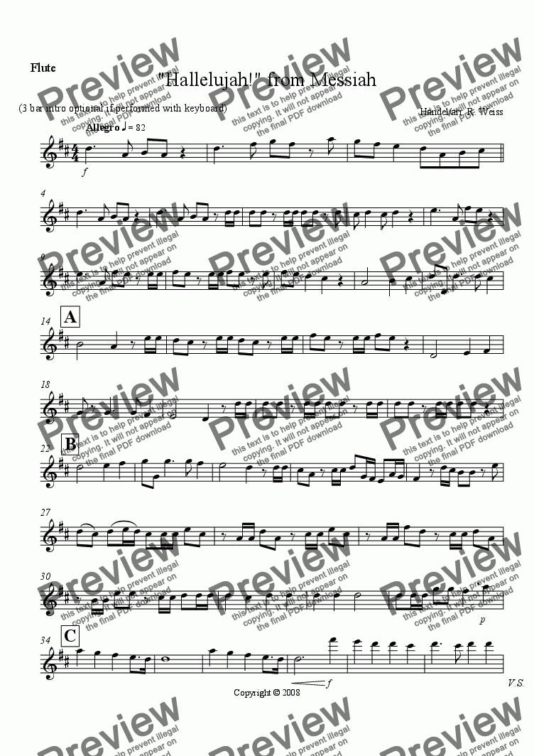 page one of the Flute part from Hallelujah! from Messiah (Flute & Cello or bassoon Duet)