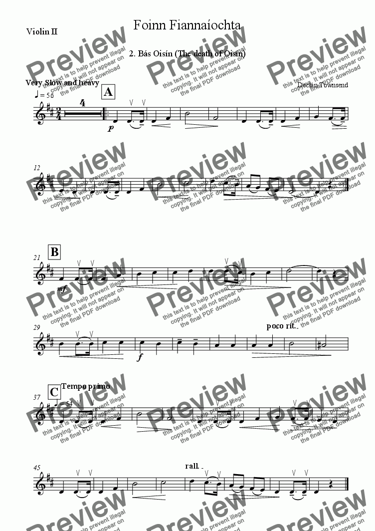 page one of the Violin II part from Foinn Fianna�ochta 2. B�s Ois�n (Death of Ois�n)