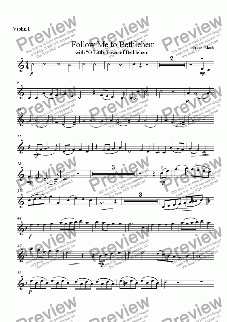 page one of the 1st violin part from Follow Me to Bethlehem