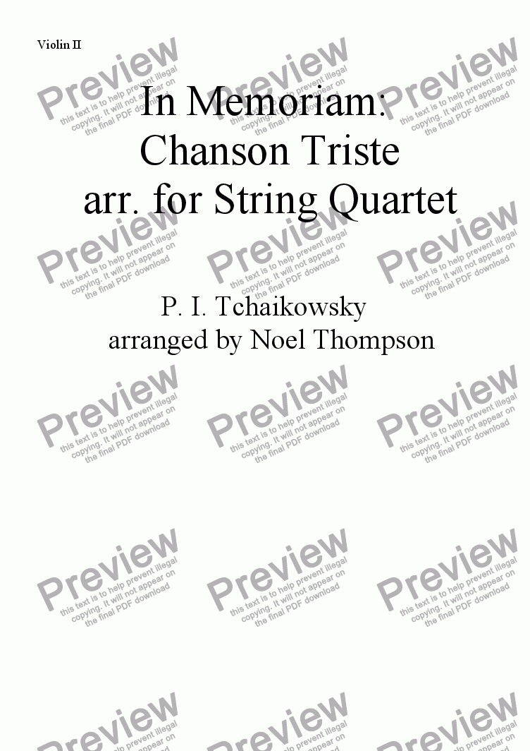 page one of the violin 2 part from In Memoriam: Chanson Triste  arr. for String Quartet (revised)