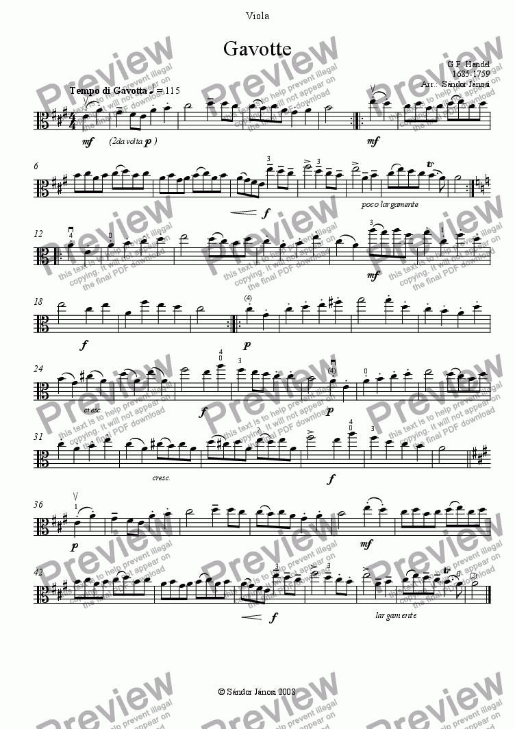 page one of the Viola part from Gavotte