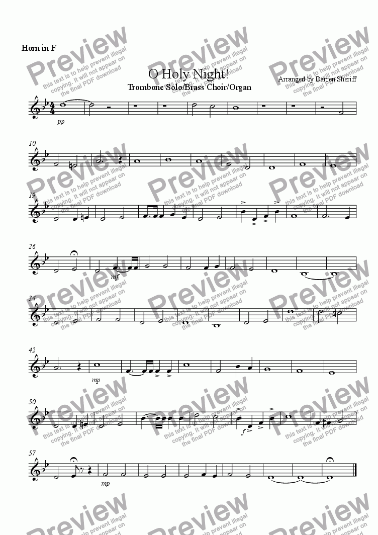 page one of the French Horn part from O Holy Night!