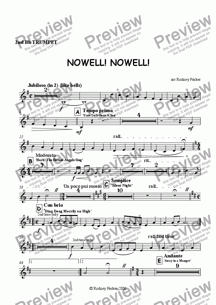 page one of the 2nd Trumpet part from Nowell! Nowell! for Amateur Orchestra