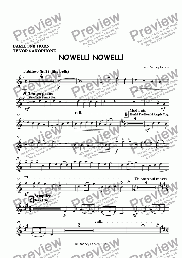 page one of the Bari Horn - Tenor Sax part from Nowell! Nowell! for Amateur Orchestra