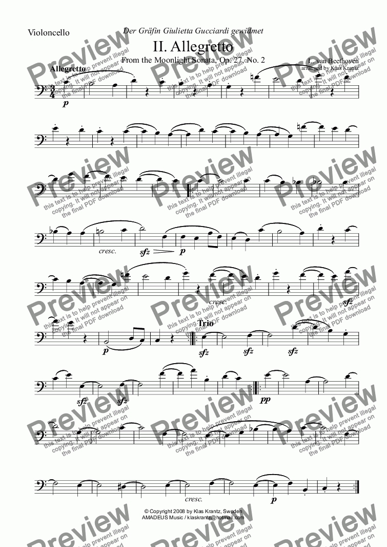 page one of the violoncello part from Moonlight sonata - Allegretto for cello and guitar