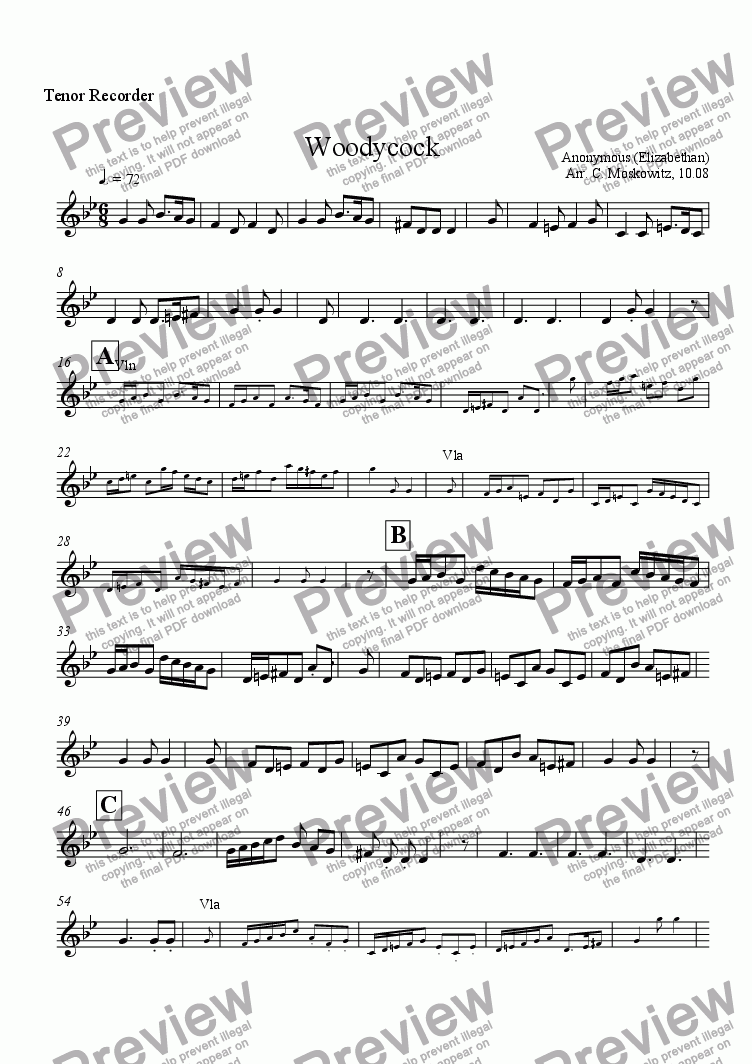 page one of the Tenor recorder part from Woodycock