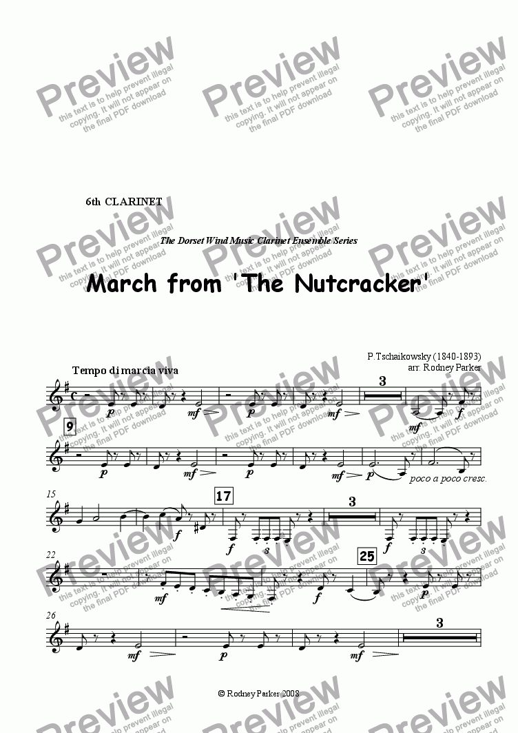 page one of the 6th Clarinet part from March from 'The Nutcracker' arr for Clarinet Ensemble